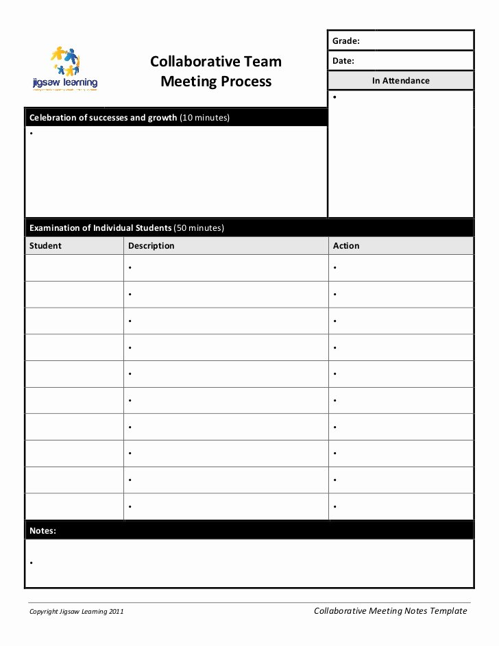 Team Meeting Agenda Template Elegant Collaborative Team Meeting Record Template