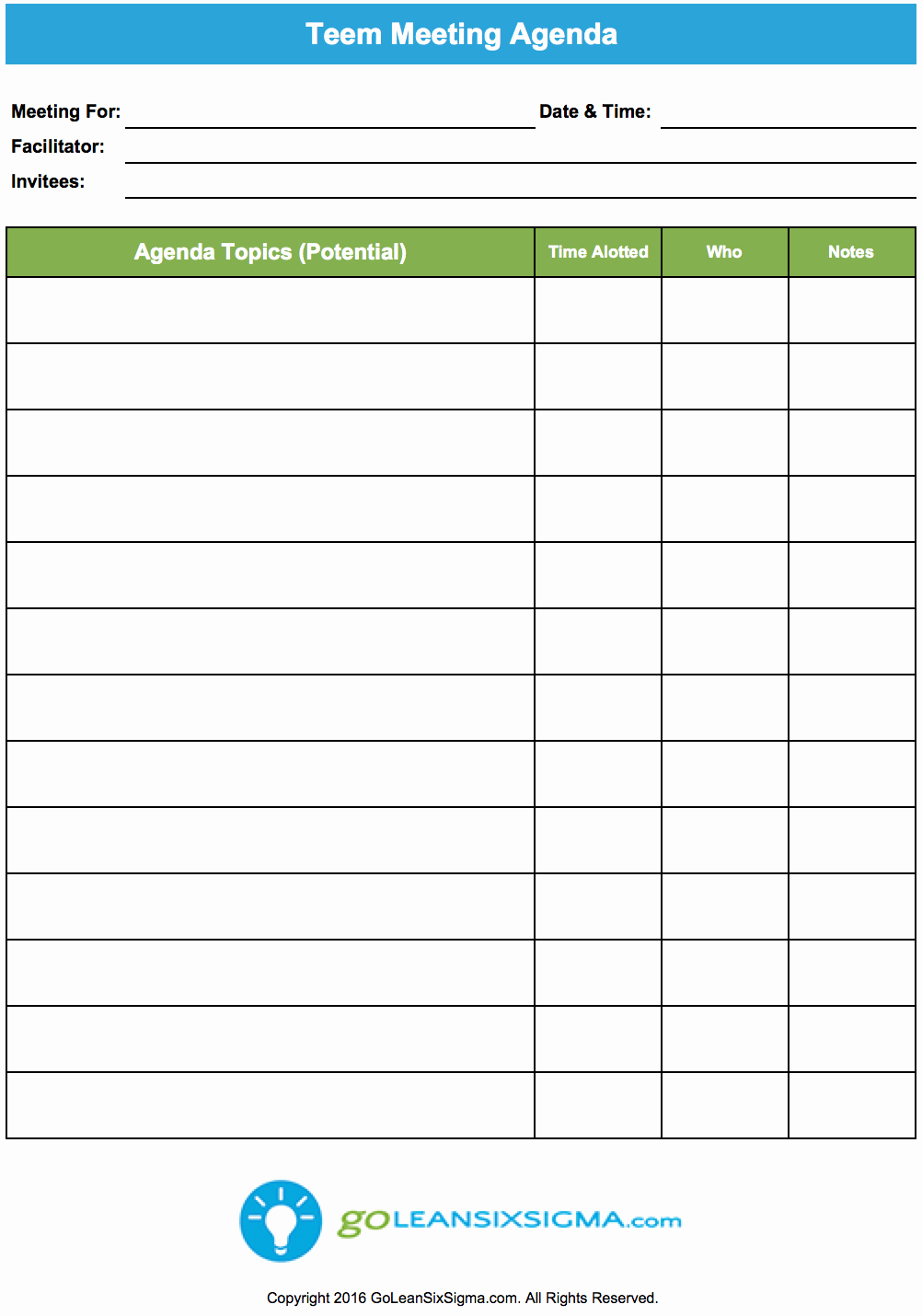 Team Meeting Agenda Template Elegant Team Meeting Agenda Goleansixsigma