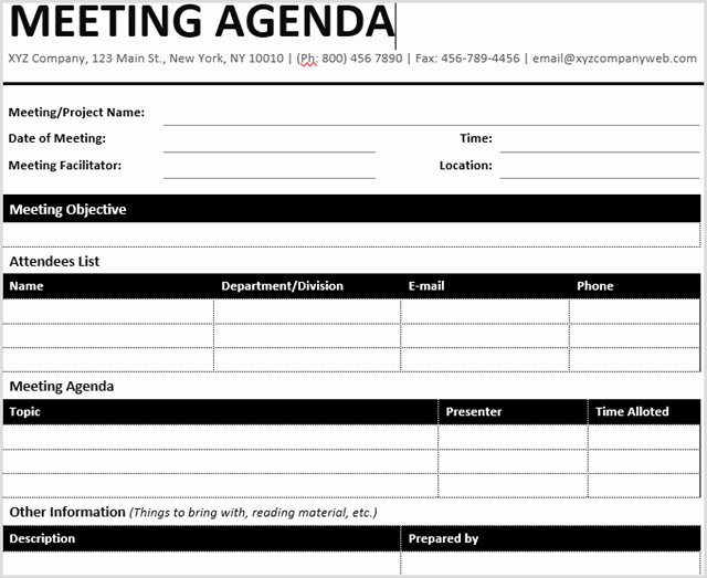 Team Meeting Agenda Template Lovely 15 Best Meeting Agenda Templates for Word