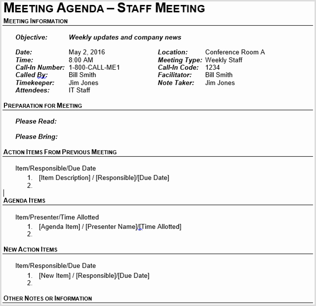 Team Meeting Agenda Template New 15 Best Meeting Agenda Templates for Word