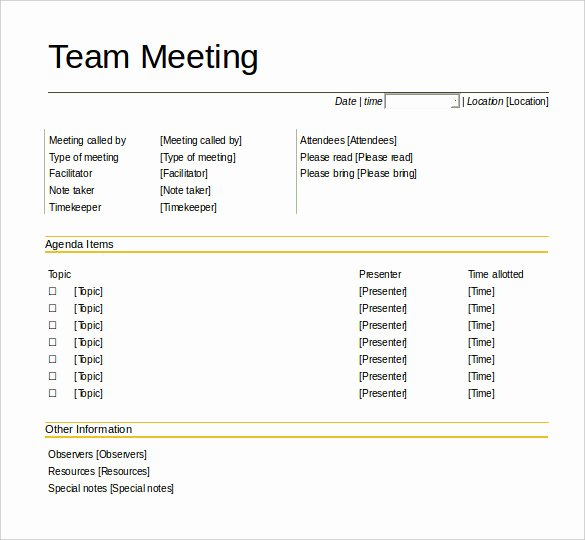 Team Meeting Agenda Template Unique 50 Meeting Agenda Templates Pdf Doc