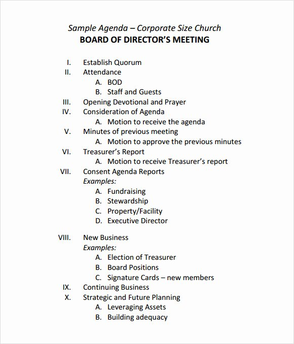 Template for Corporate Minutes Best Of Sample Board Meeting Agenda Template 11 Free Documents
