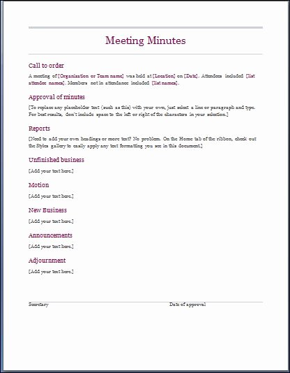 Template for Corporate Minutes Fresh Sample Meeting Minute Templates