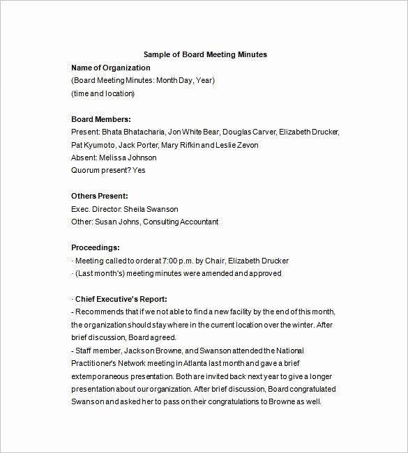 Template for Corporate Minutes New Board Of Directors Meeting Minutes Template 12 Example