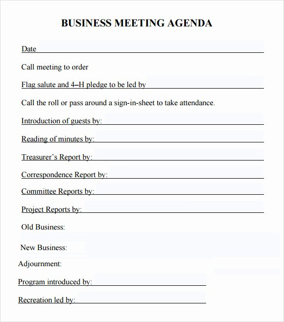 Template for Corporate Minutes New Business Meeting Agenda Template 5 Download Free