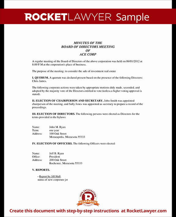 Template for Corporate Minutes New Corporate Minutes Corporate Minutes Template with Sample