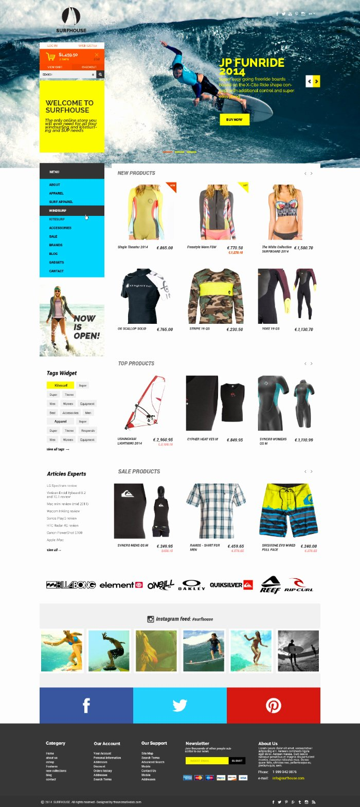 Template for Ecommerce Website Lovely Surfhouse – Psd Template