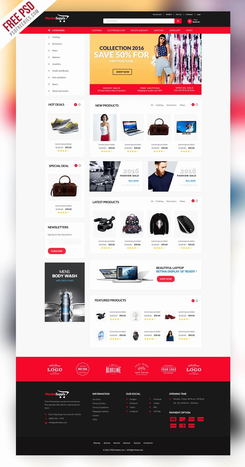Template for Ecommerce Website Unique Free E Merce Web Templates Psd Css Author