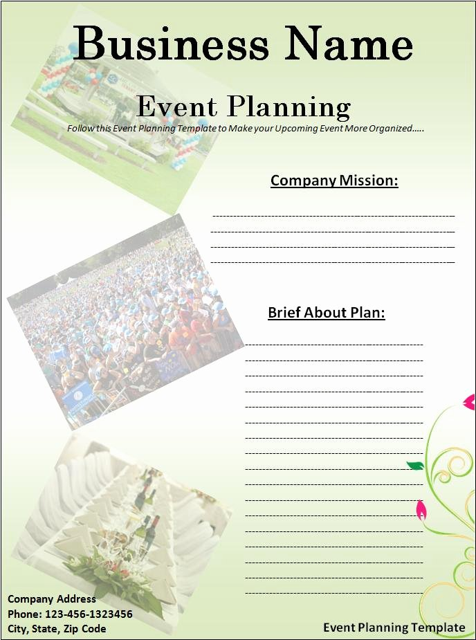Template for event Planning Elegant event Planner Template