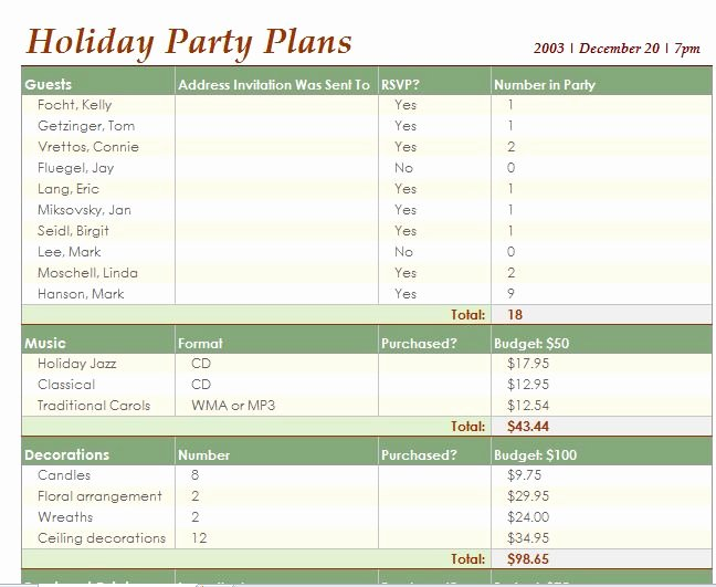 Template for event Planning Fresh Party Planner Template