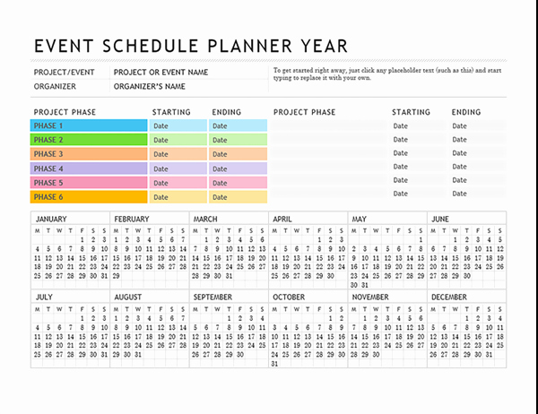 Template for event Planning Inspirational event Planner