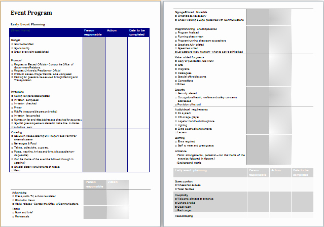 Template for event Planning Inspirational event Planner Template at Planner