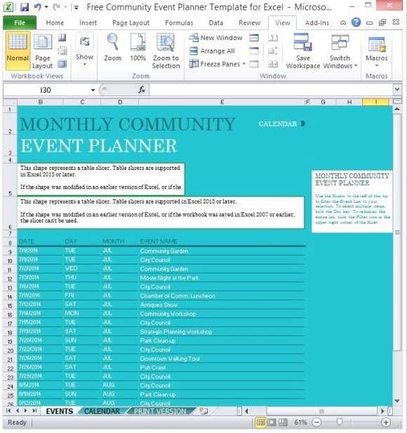Template for event Planning New Free Munity event Planner Template for Excel