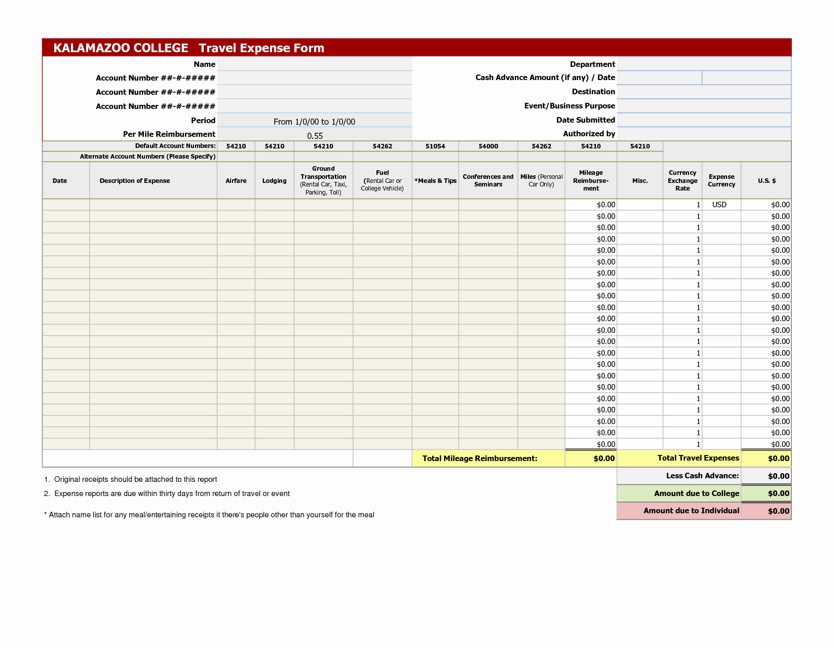 Template for Expense Report Luxury 45 Free Printable Blank Expense Report Template Samples