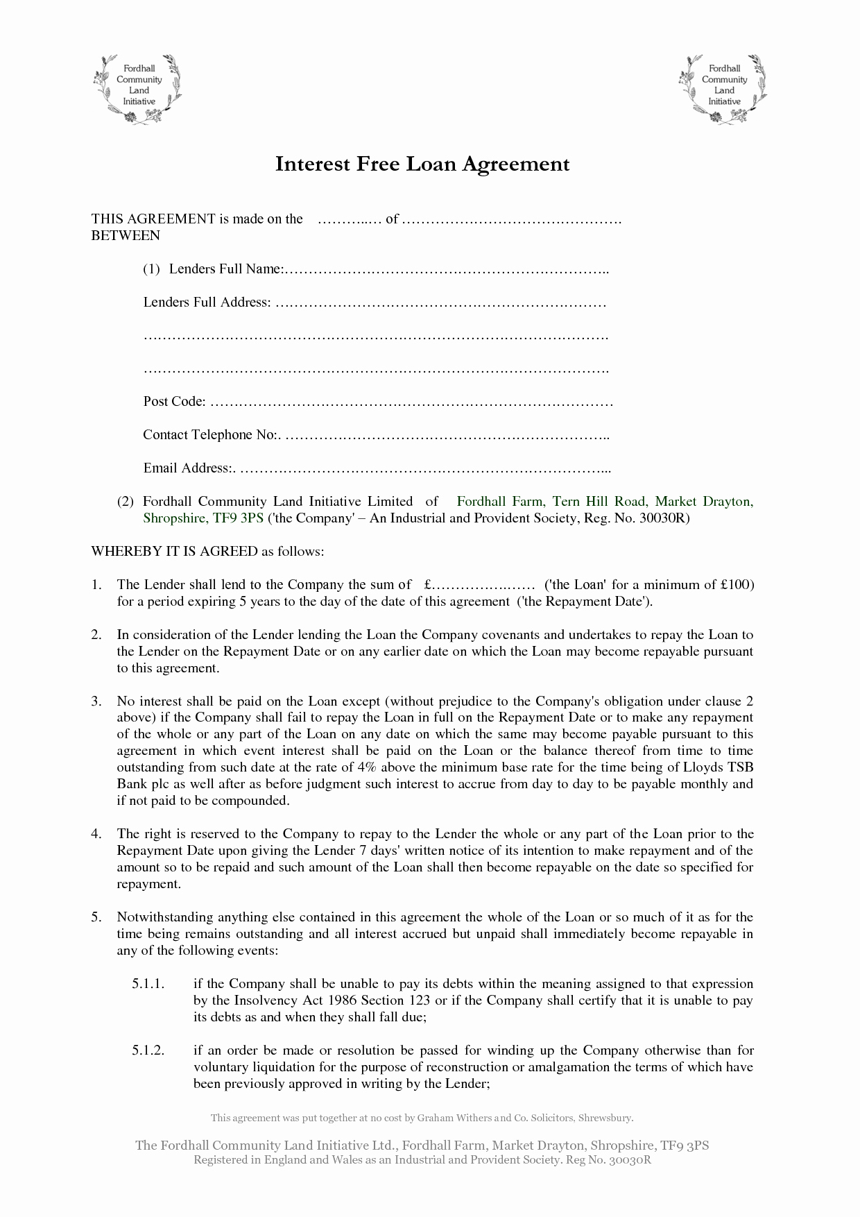 Template for Loan Contract Fresh 10 Best Of Printable Personal Loan Agreement