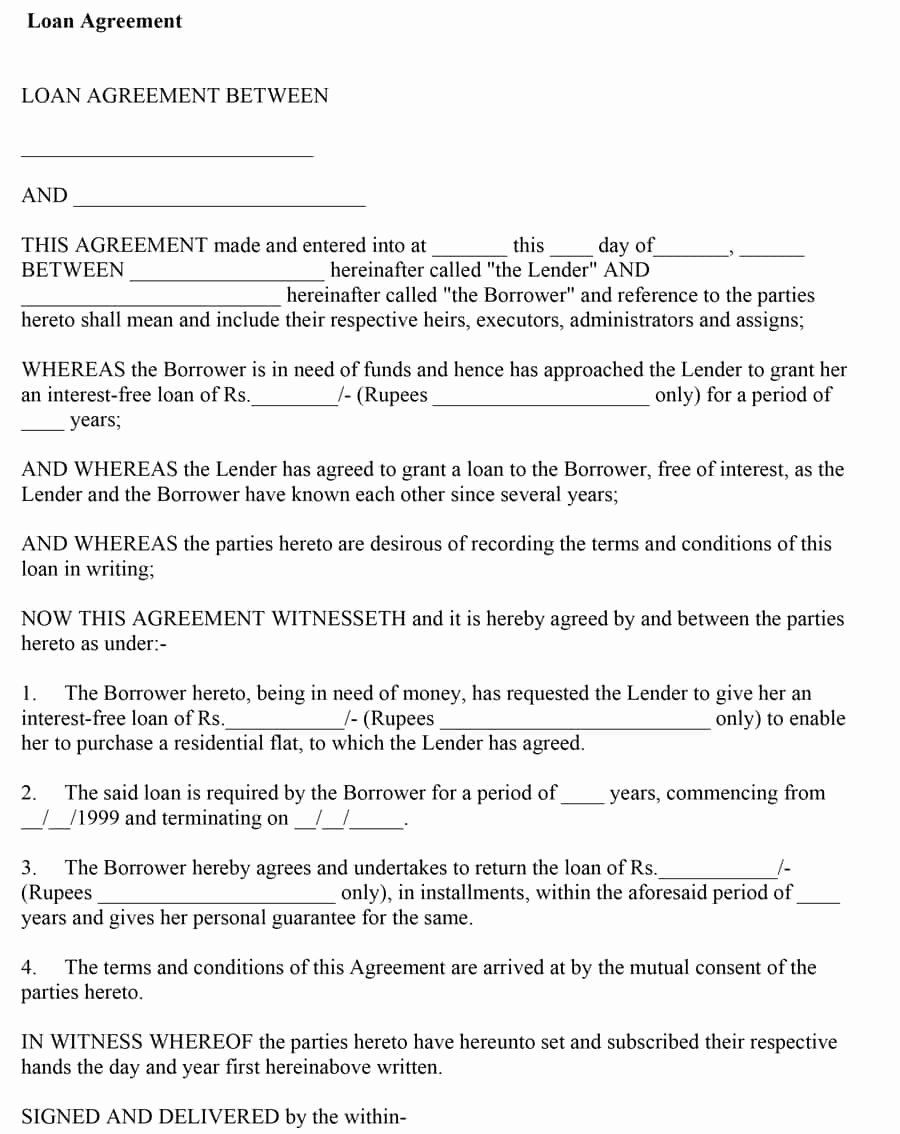 Template for Loan Contract Fresh 40 Free Loan Agreement Templates [word & Pdf] Template Lab