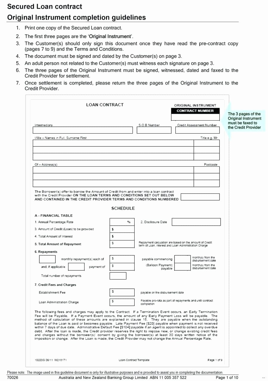 Template for Loan Contract Fresh Template Blank Loan Agreement Template