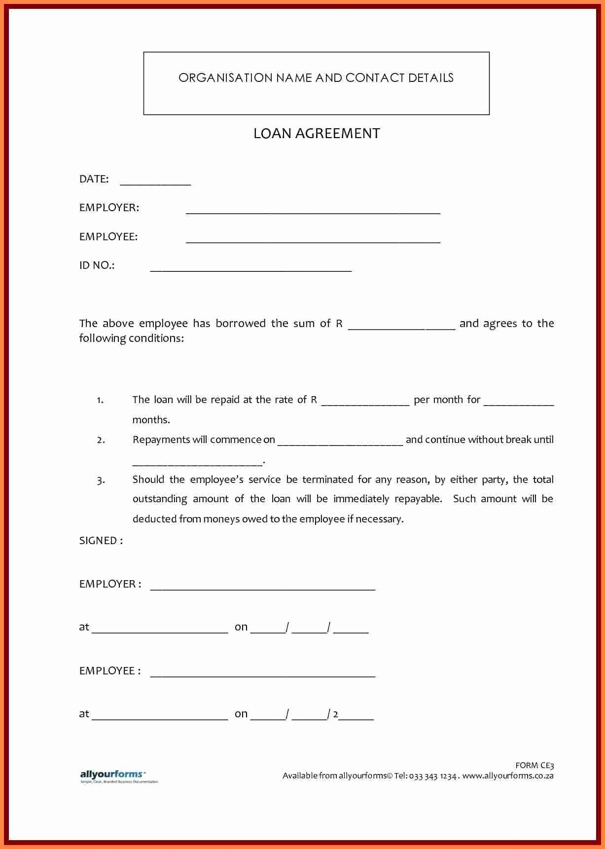 Template for Loan Contract Inspirational 7 Template Loan Agreement Between Family Members