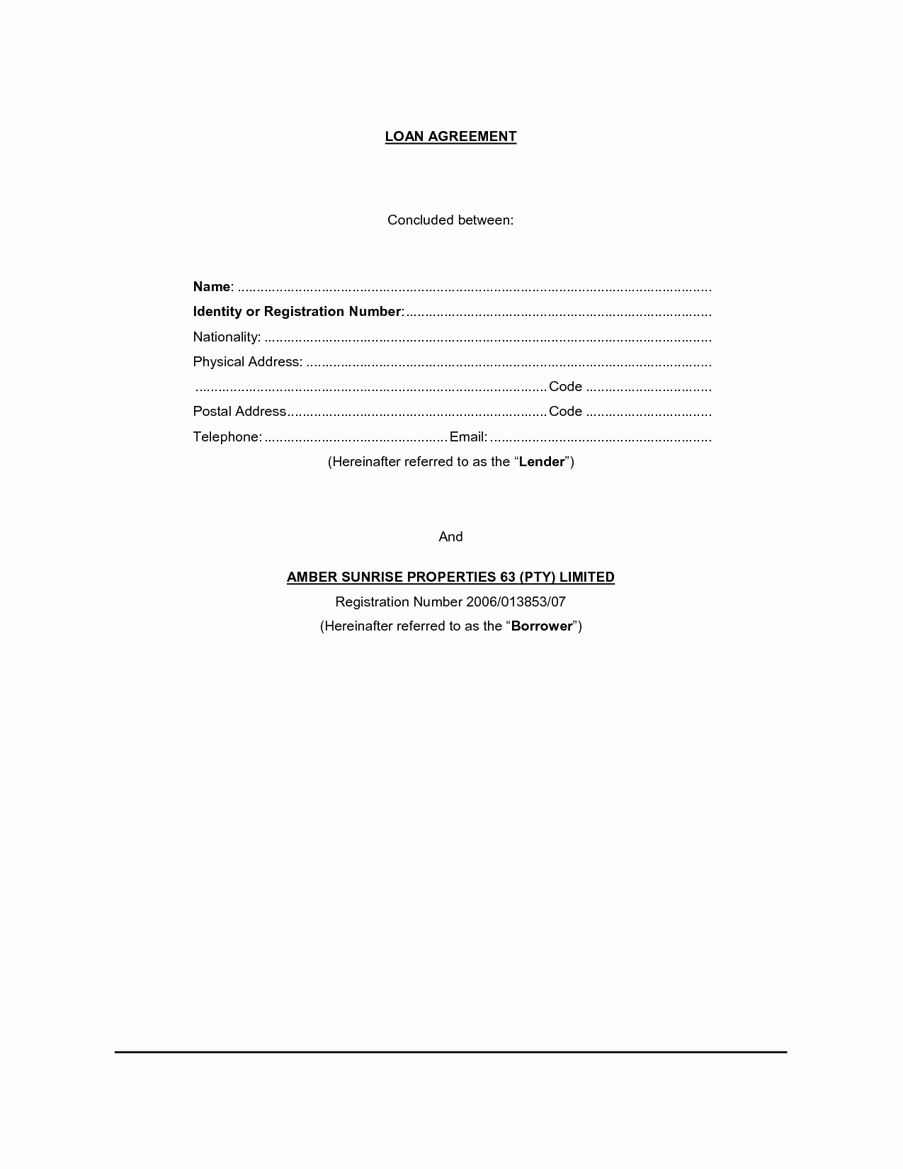 Template for Loan Contract Inspirational Free Printable Loan Contract Template form Generic