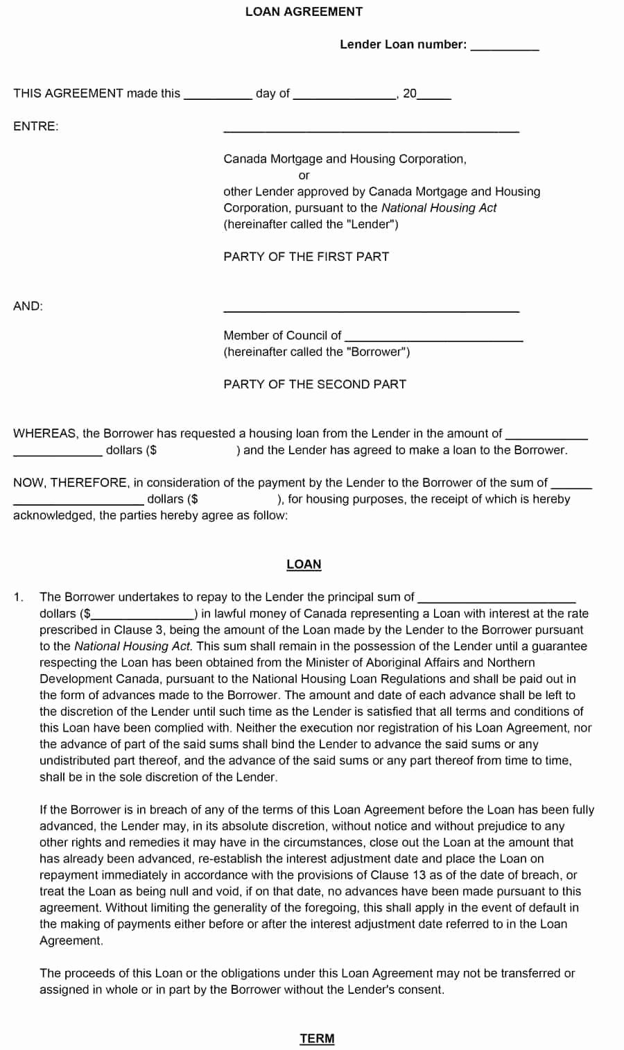 Template for Loan Contract Inspirational Template Loan Agreement Template Between Family Members