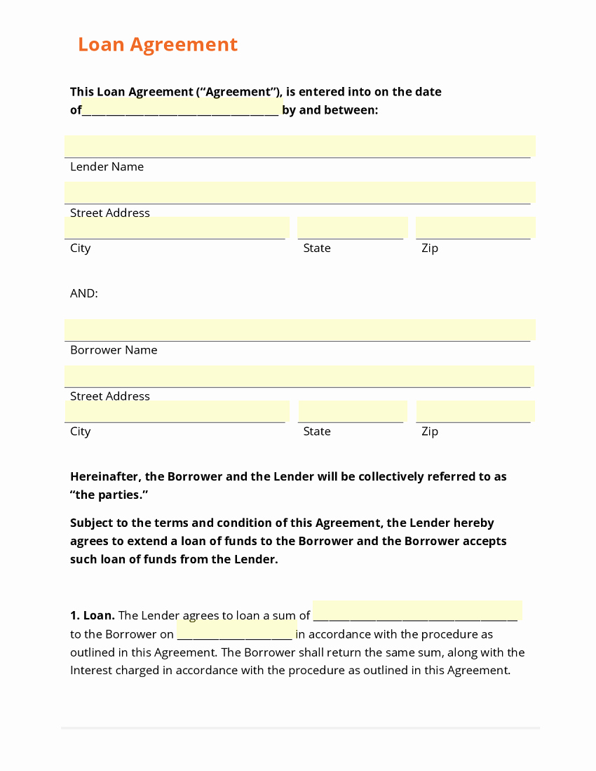 Template for Loan Contract Lovely top 5 Free Loan Agreement Templates Word Templates