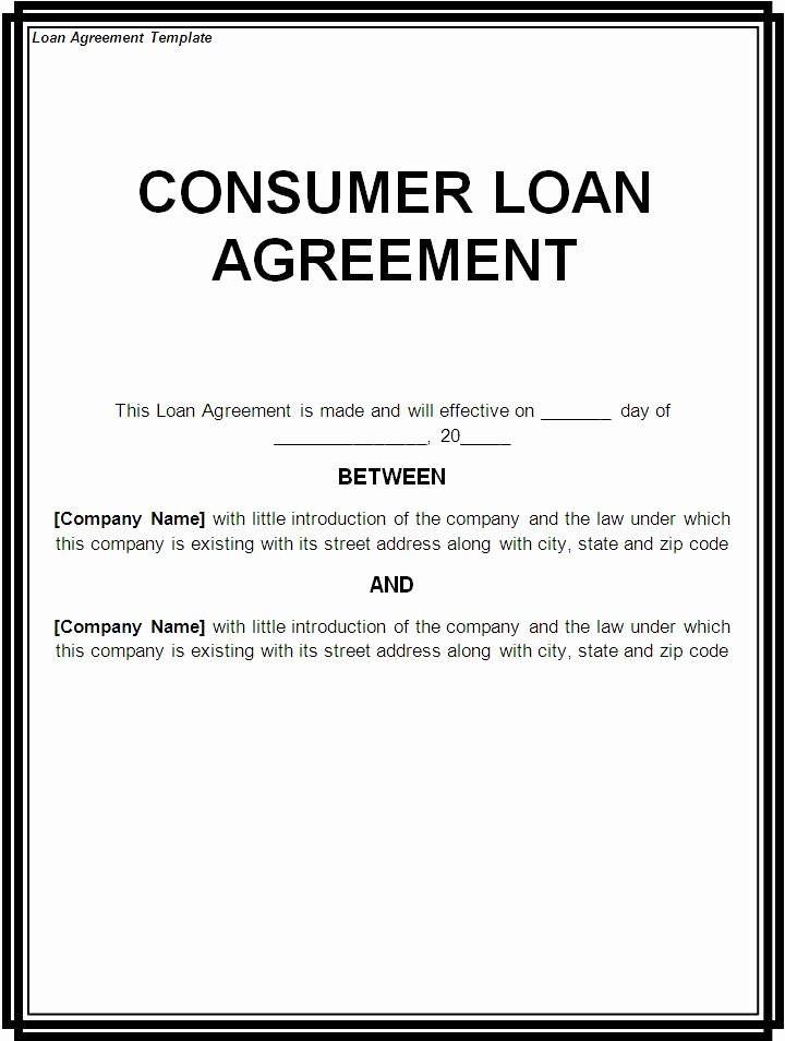 Template for Loan Contract New Free Printable Loan Template form Generic