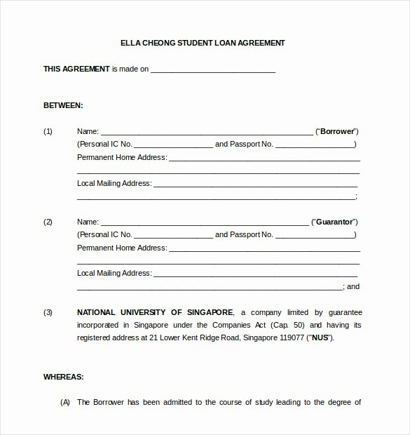 Template for Personal Loan Agreement Awesome 18 Loan Agreement Templates – Free Word Pdf format