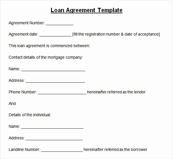 Template for Personal Loan Agreement Best Of 10 Sample Standard Loan Agreement Templates