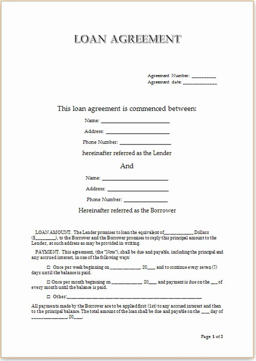 free loan agreement format sample for personal loans