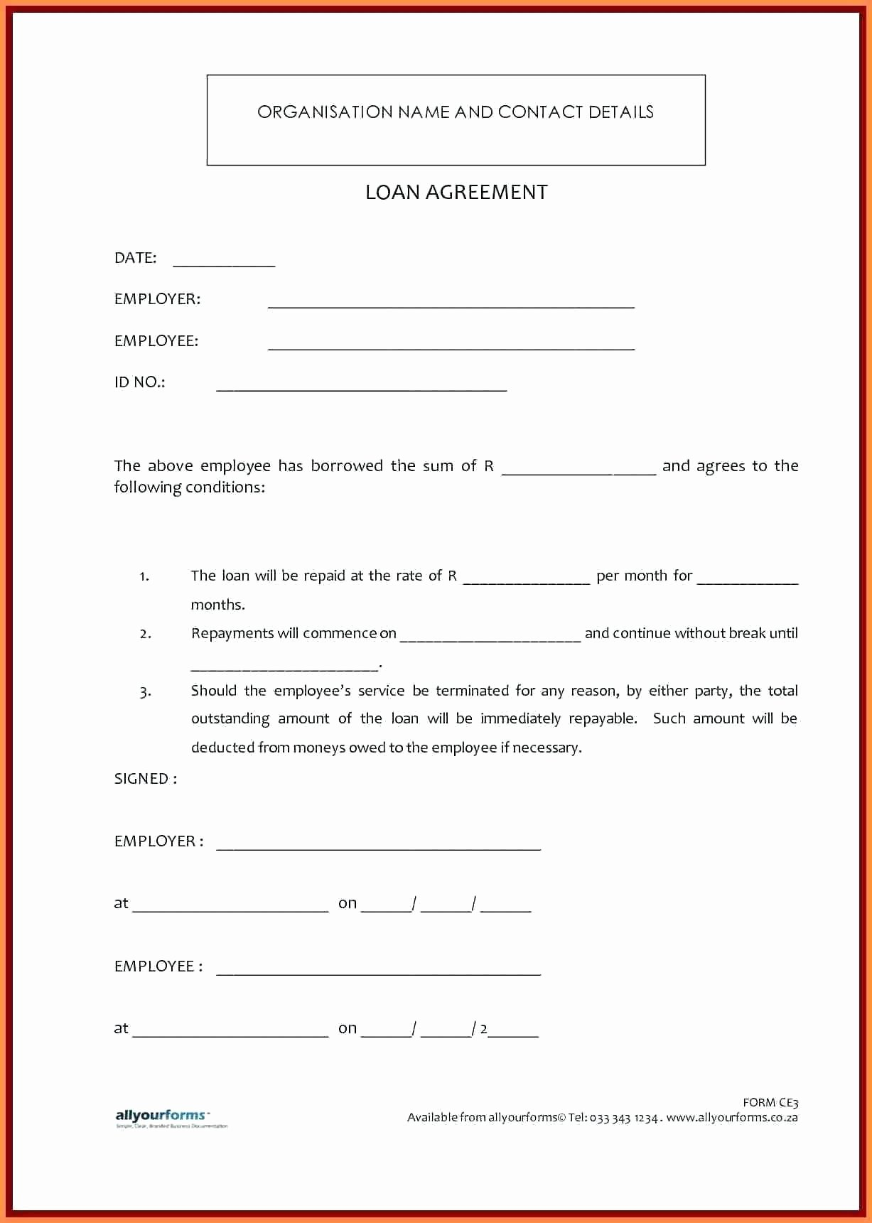 Template for Personal Loan Agreement Inspirational Template Personal Loan Contract Template