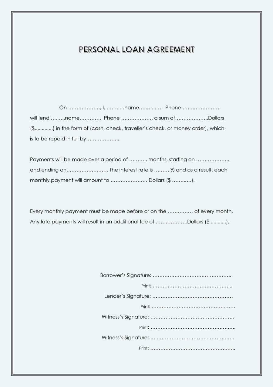 Template for Personal Loan Agreement Luxury 40 Free Loan Agreement Templates [word & Pdf] Template Lab