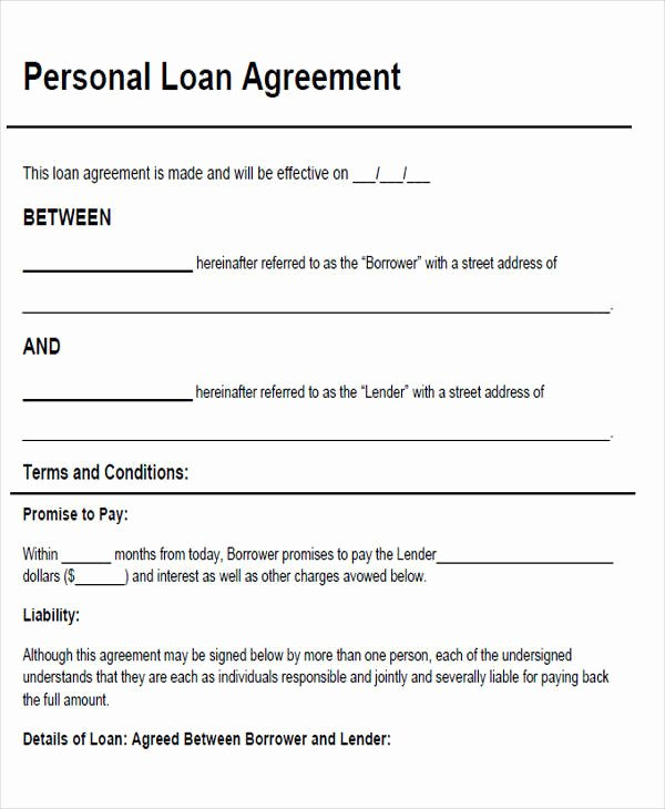 Template for Personal Loan Agreement Luxury 46 Agreement form Sample