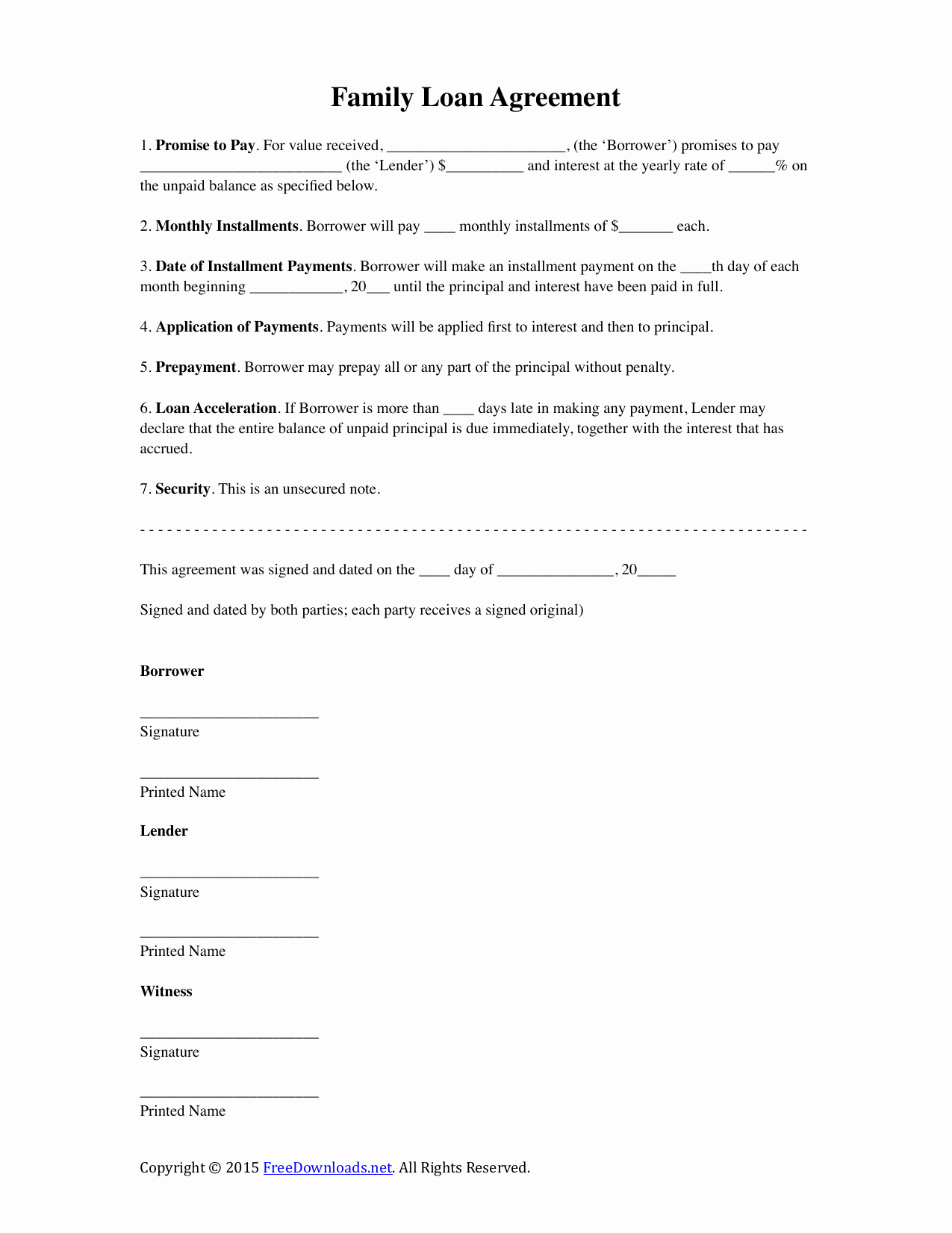 Template for Personal Loan Agreement New Download Family Loan Agreement Template Pdf Rtf