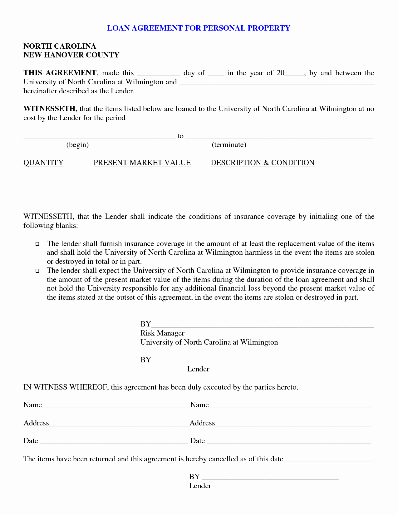 Template for Personal Loan Agreement New Free Printable Personal Loan Contract form Generic