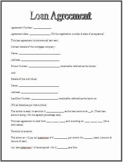 Template for Personal Loan Agreement New Printable Sample Personal Loan Agreement form