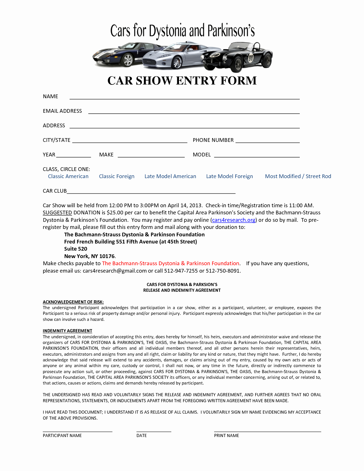 Template for Registration form Awesome Car Show Registration form Templates