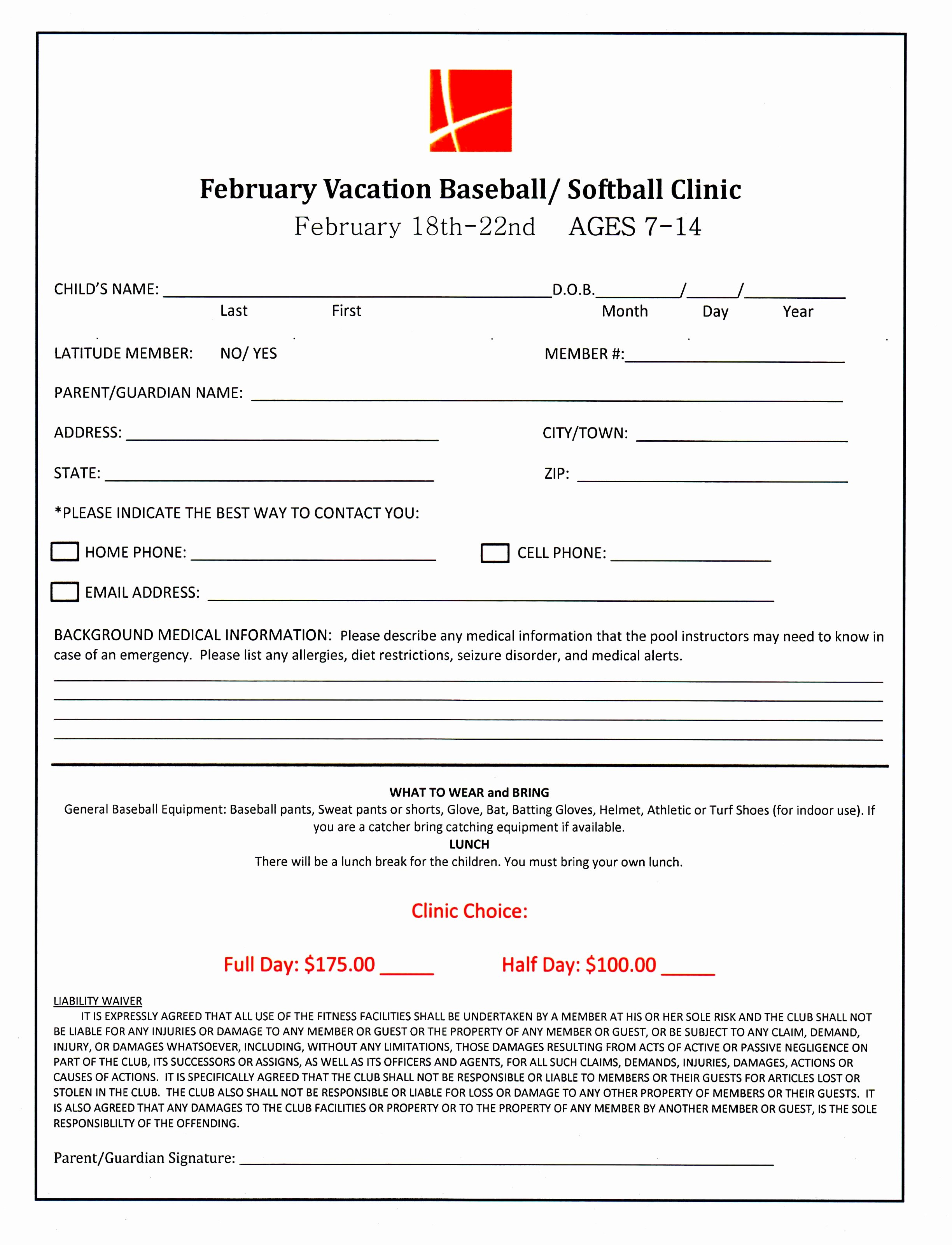 Template for Registration form Best Of 7 Baseball Registration form Template Piuur