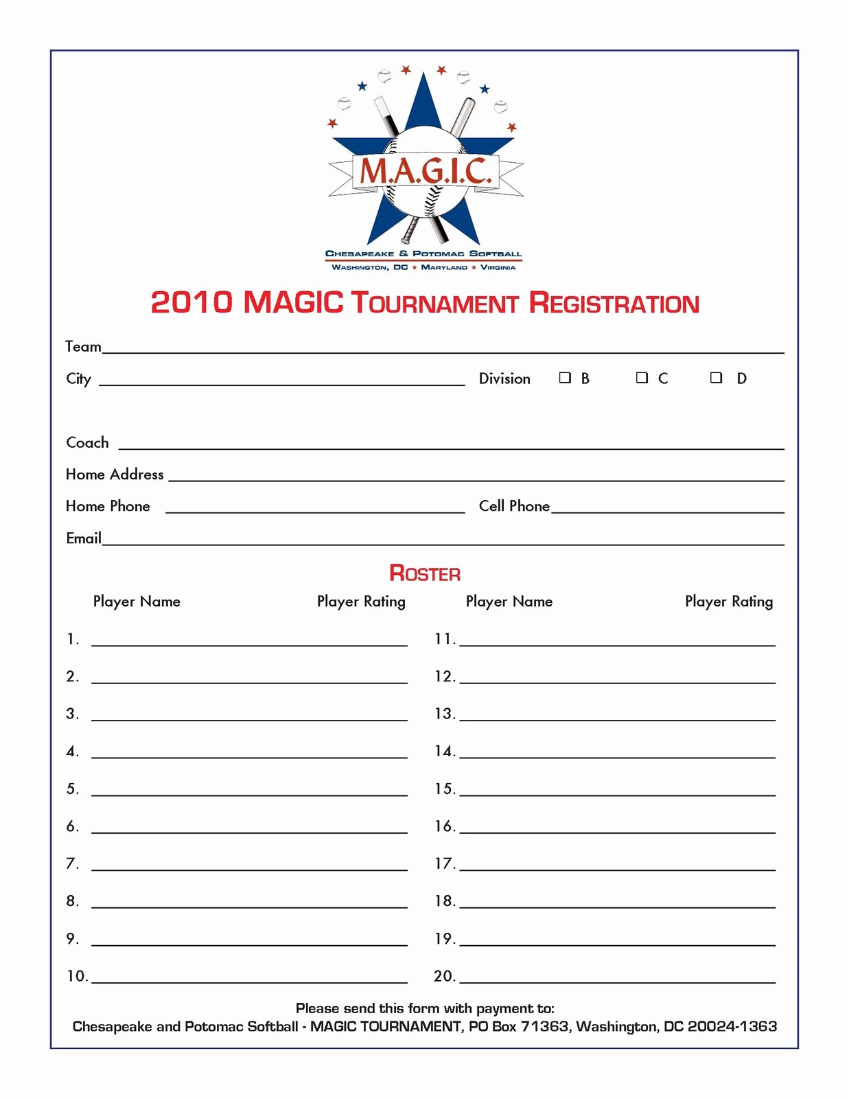 Template for Registration form Best Of Magic tournament July 2010