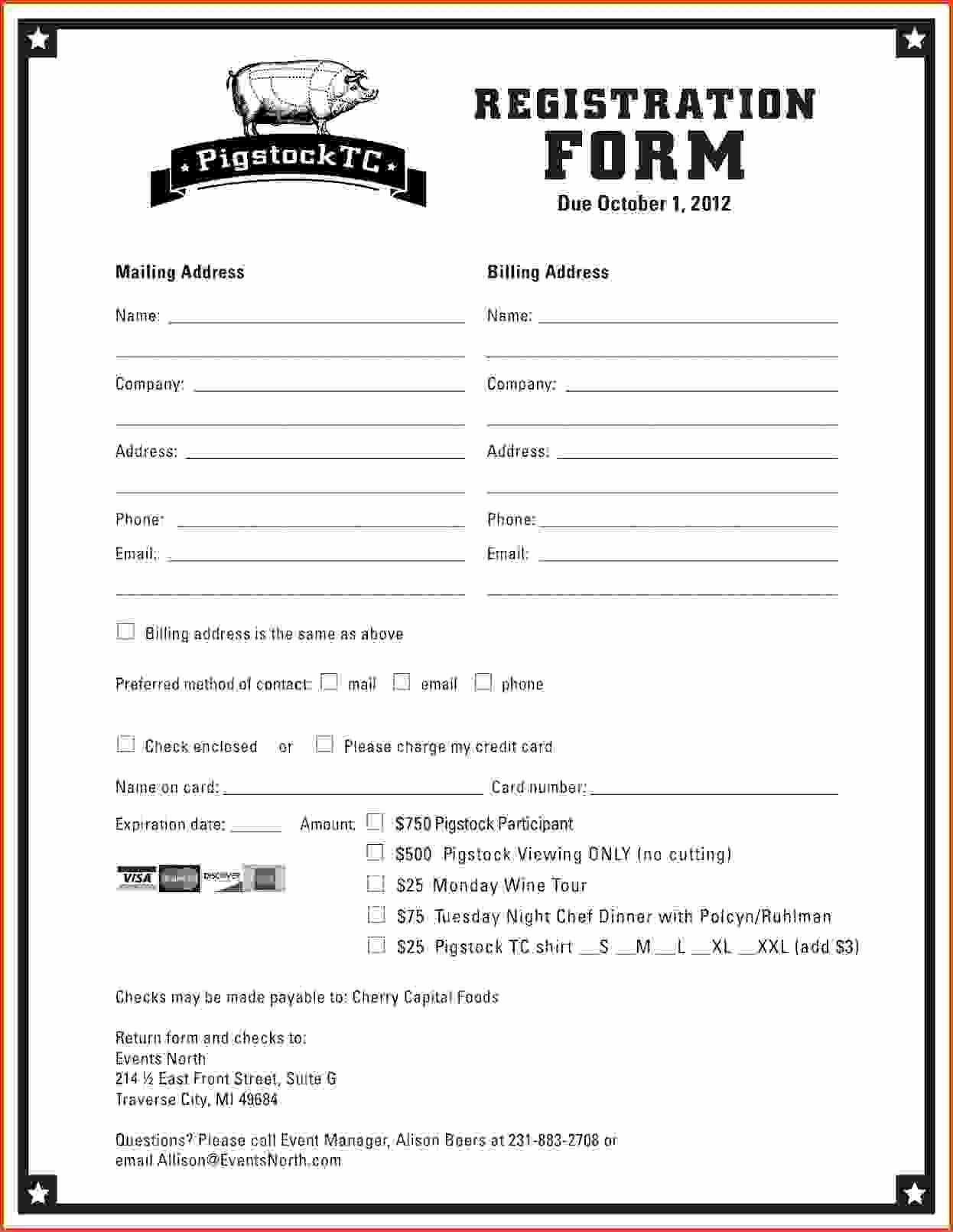 Template for Registration form Elegant Printable Registration form Template