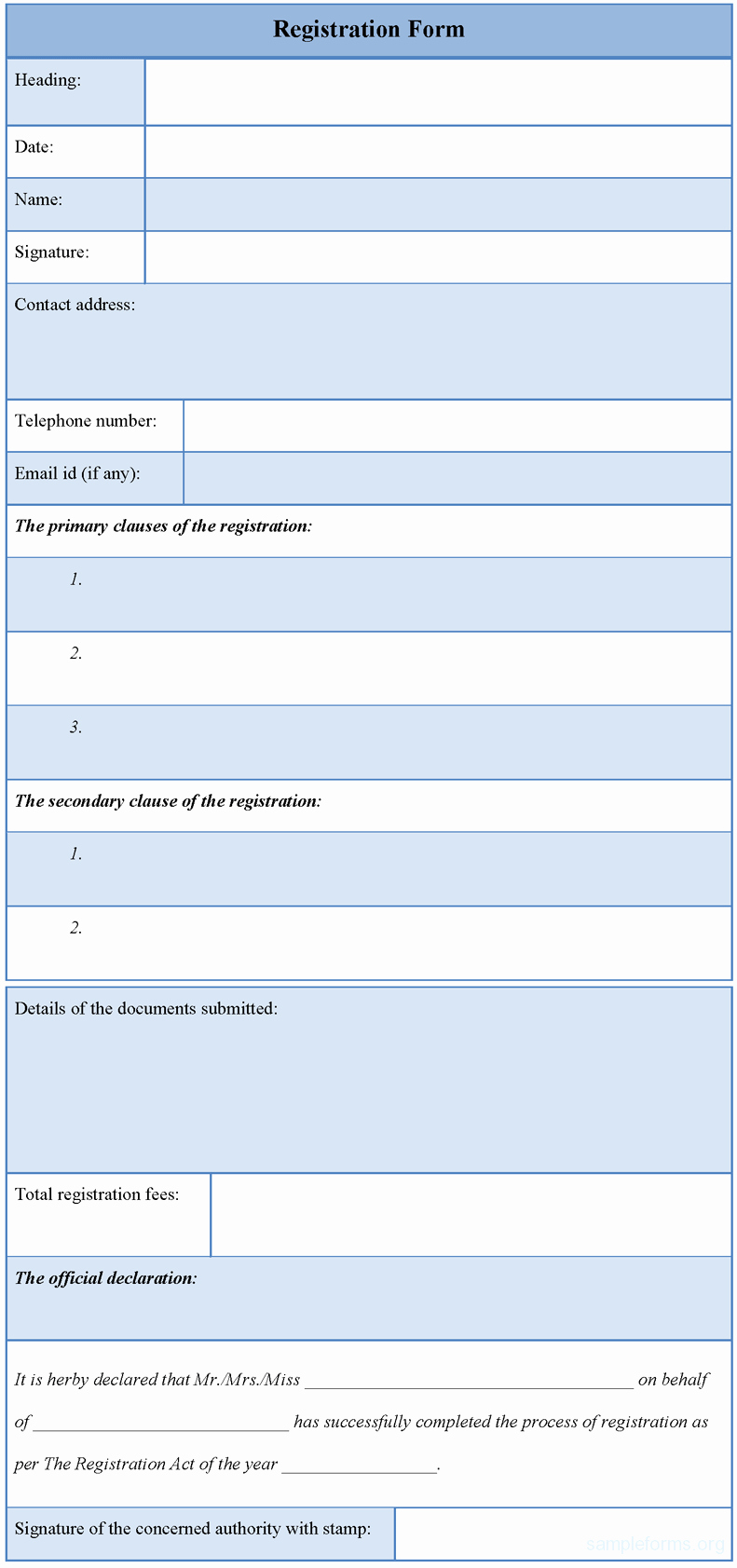 Template for Registration form Elegant Registration form Template Sample forms
