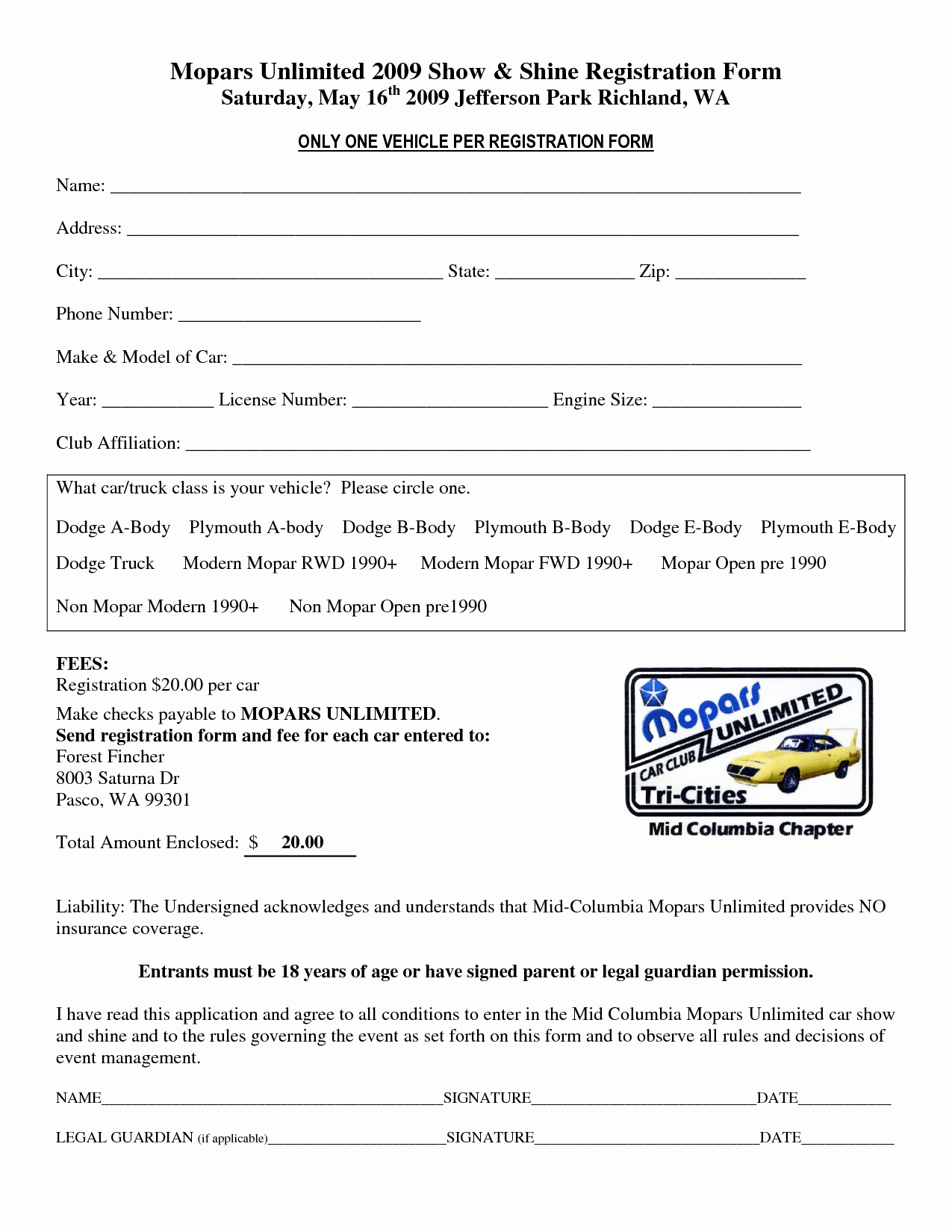 Template for Registration form Lovely Car Show Registration form Templates