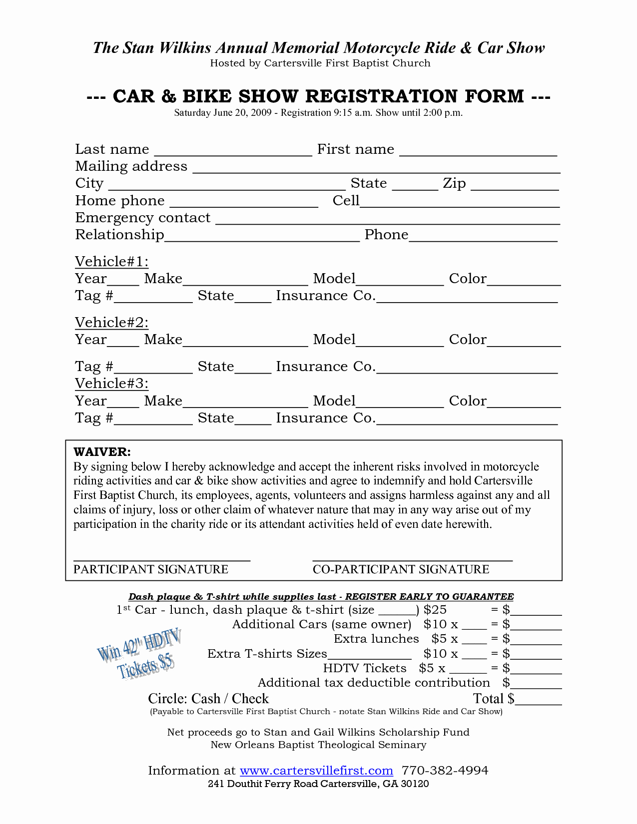 Template for Registration form Luxury Car Show Registration form Templates