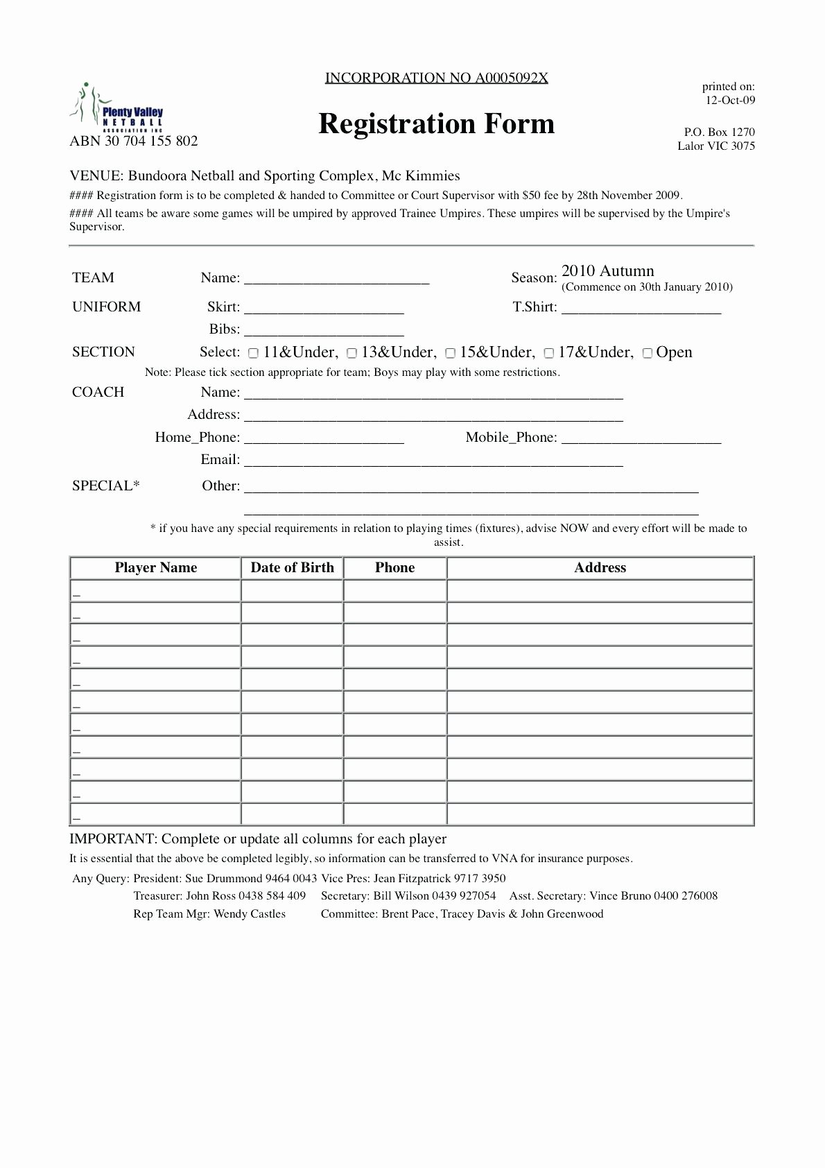 Template for Registration form Luxury Team Registration form Template