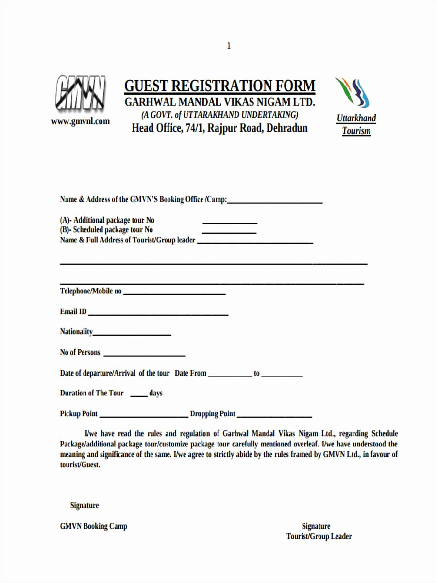 Template for Registration form Unique 21 Hotel Registration form Templates