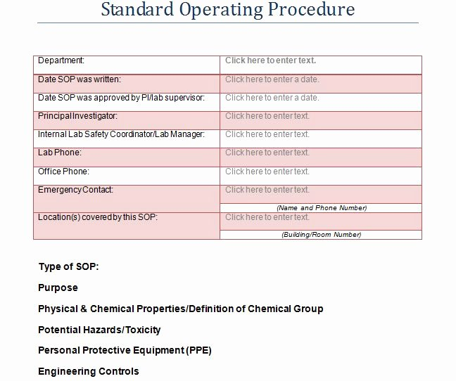 Template for Standard Operating Procedures Elegant 37 Best Standard Operating Procedure sop Templates