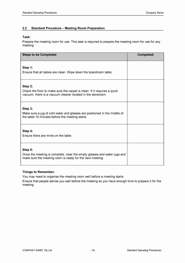 Template for Standard Operating Procedures Elegant Standard Operating Procedure Template Download