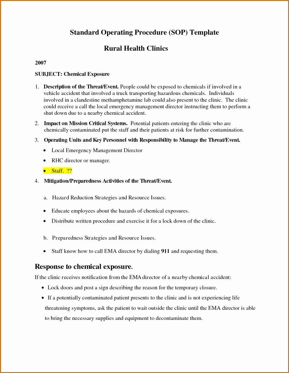 Template for Standard Operating Procedures Fresh 11 Standard Operating Procedure Template Word