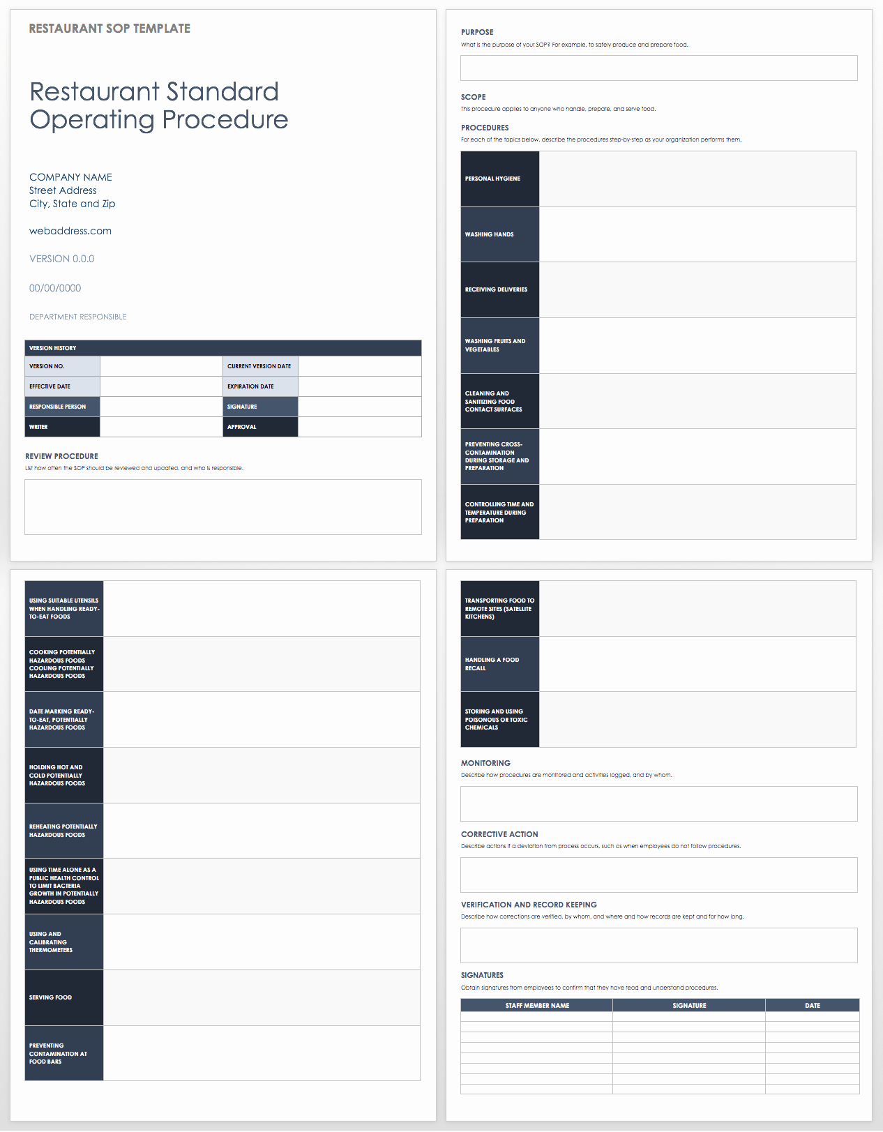 Template for Standard Operating Procedures Fresh Standard Operating Procedures Templates