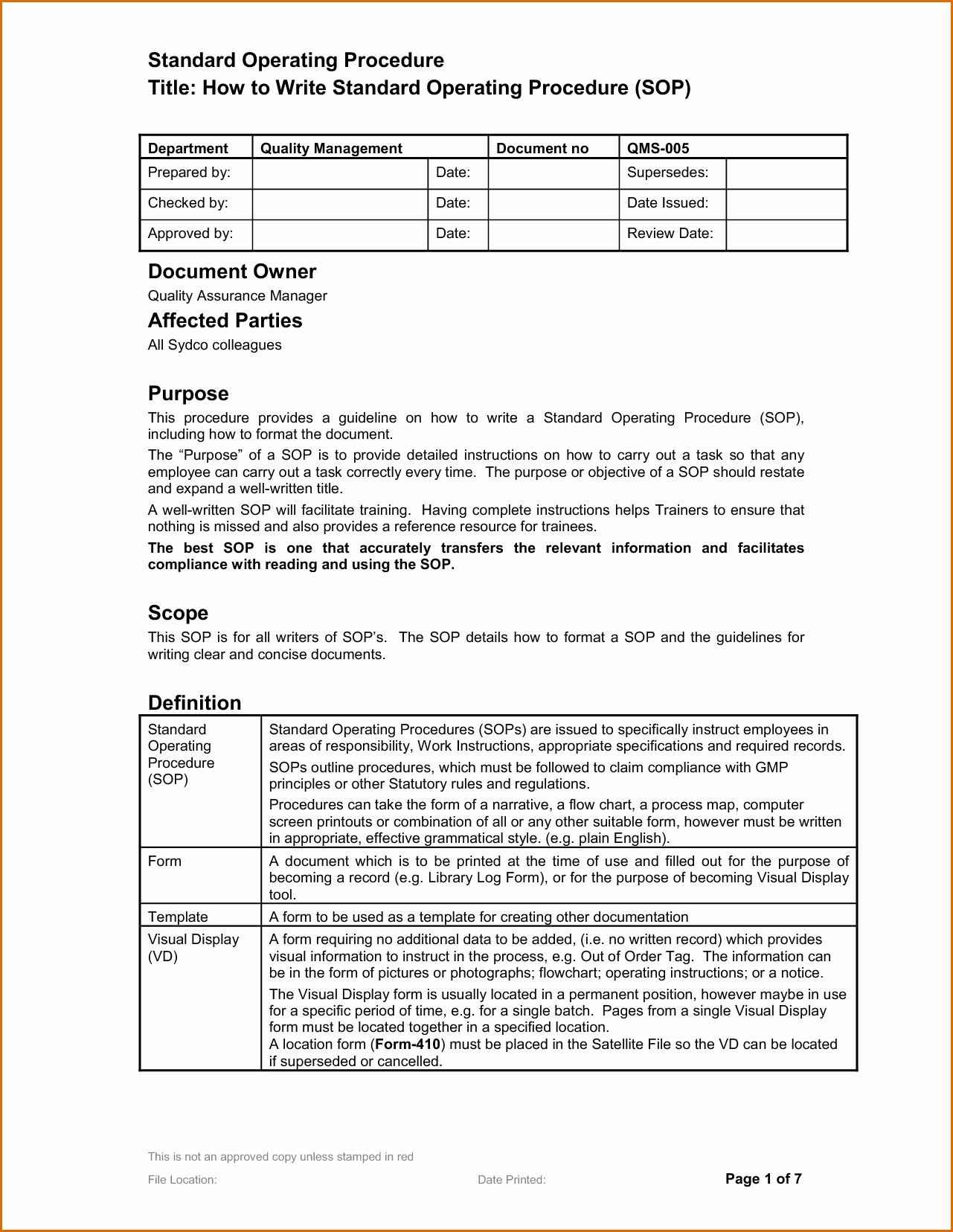 Template for Standard Operating Procedures Luxury 14 Standard Operating Procedures Templates