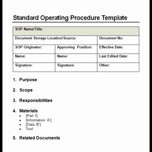 Template for Standard Operating Procedures New 9 Standard Operating Procedure sop Templates Word